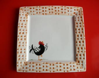 """Hand decorated white porcelain square plate: """"Singer hen"""""""