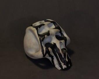 ceramic black and white skull