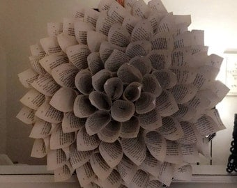 Book Page Dahlia Flower Wreath