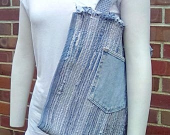 Denim Tote made from Recycled Jeans with Handwoven Handles
