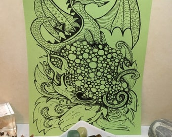 Dragon Mandala Original - mandala, zendoodle, zentangle, zendala, Ink Drawing, Original, A4