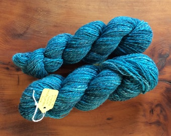 Hand spun turquoise yarn - wool, alpaca and silk blend