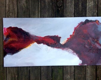 Red & Gray Fluid Abstract Painting