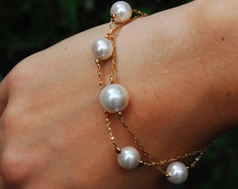 Vintage Pearl Bracelet *1980's, cascading*