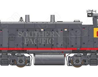Digital Art Print - EMD MP15AC Locomotive - Union Pacific 1448 (SP Paint with UP Patch)