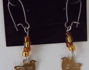 Gold Dove Earrings - All Occasion - Christmas