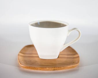 White Tea/Coffee Cups & Wooden Saucers - Set of 5