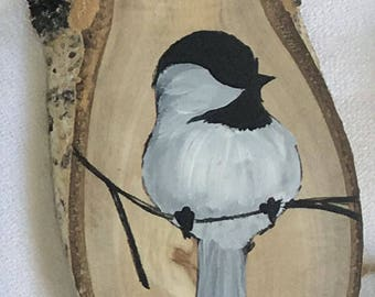 Painted Wood Ornament - Bird on Branch