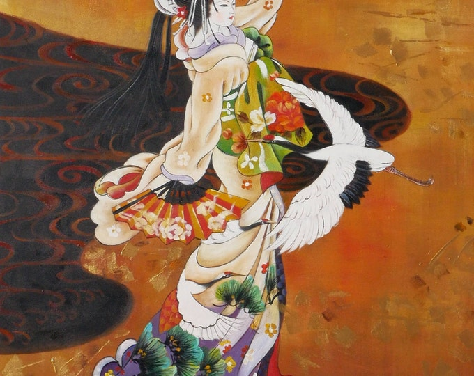 Geisha Art Cranes Painting Asian Oil on Canvas Wall Art Beautiful Decor