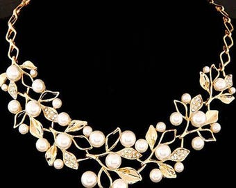 Pearl Necklaces & Pendants Gold Leaves Statement Necklace