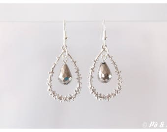 Drop earrings gray and silver #0899