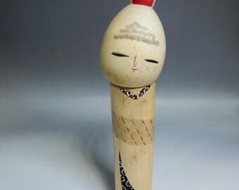 "Japanese Vintage artist made sosaku kokeshi wooden doll 24cm 9.5"" 200g"