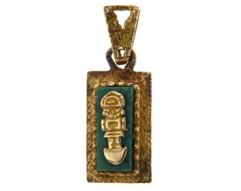 18 kt yellow gold pendant Vintage Mexican. Ethnic Pendant with turquoise, Mexico, 750 Pendant handmade Mayan Tribal Pendant