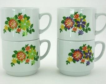 4 vintage Monopoli porcelain mugs
