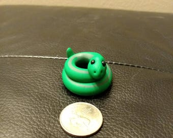 Dark Green/Green Snake-Polymer Clay Figurine