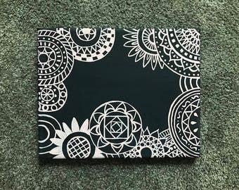 Customizable Pink on Black patterned canvas