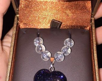 Crystal pendent (heart)(galexy)(glittered)(sparkly)(glass beads)(clear)(gift)