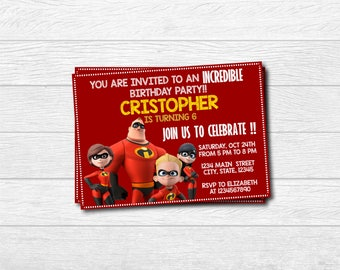 The Incredibles Printed Invitation, The Incredibles Invite, The Incredibles, The Incredibles Printable, The Incredibles , Printable