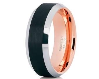Men's Wedding Band Rose Gold Tungsten Ring Black Tungsten Ring Men & Women Brush Black Ring