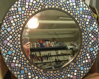 Large Round Mosaic Mirror/Shades of Lavender & Blue