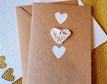 Handmade Hearts Card / Crocheted Card / Heart Anniversary Card / Valentines Card / Anniversary Card / Kraft heart card / Kraft Wedding card
