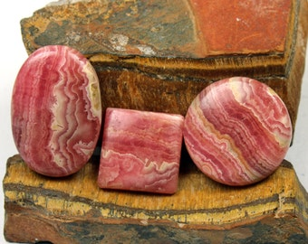 3 Pcs Natural Pink Rhodochrosite Stone,29x29mm 143Cts Rhodochrosite Cabochon Gemstone,Handmade Gemstone,Jewelry Making ,Loose Gemstone#347