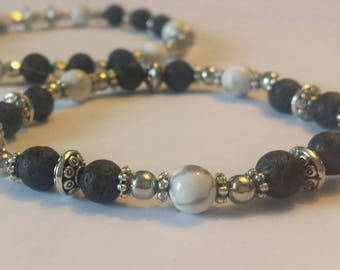Beautiful lava stone and howlite bracelet set