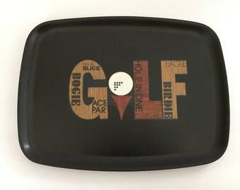 "Vintage Couroc Black Tray With Inlaid Golf Design, Phenolic Resin 12.5"" x 9.5"""