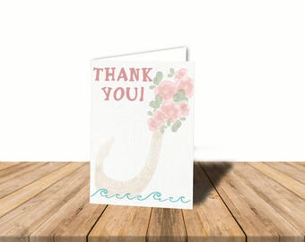 Moana Girl Thank You Card, Blank Inside, Automatic Digital Download