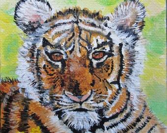 Siberian Tiger Acrylic Mini Painting-Conservation Art