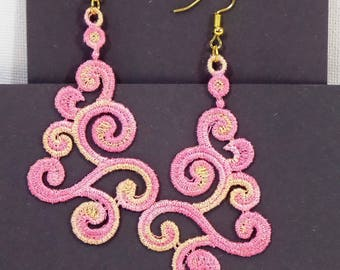 Earrings embroidered fabric without