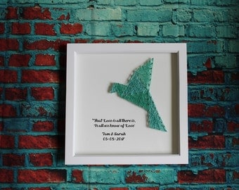 Customized String Art Wedding Gift. Dove Bird. *Made to Order* with Customized Message for Couple