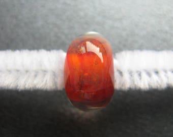 BORO Lampwork Focal Bead, Lampwork Focal Bead, Handmade Lampwork Bead, OOAK Artisan Focal Bead, Deep Orange, Magenta, Coral, Opals - HGD481