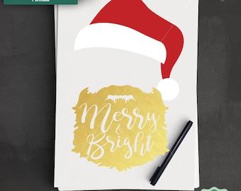 Merry and Bright SVG, Santa Face SVG, Santa Hat svg, Christmas SVG, Santa Clipart, Santa Cut File, Cricut, Silhouette, Svg, Dxf, Png, Jpeg