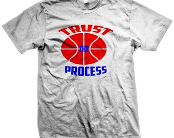 Limited Edition White Inspirational Quotes Basketball T-shirt|Personalized Trust the Process Novelty Tee, Philadelphia 76ers Sports Apparel