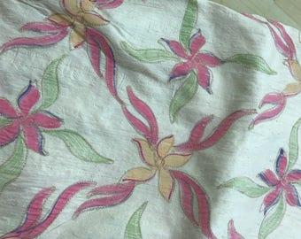 Embroidered silk dupioni