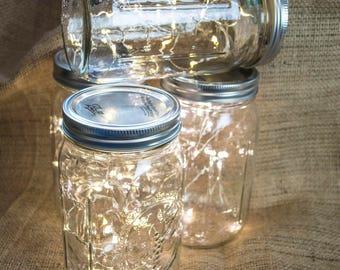 Mason Jars with Fairy Lights, 2m, Warm White, Outdoor Lighting, String Lights, Wedding