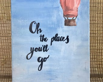 Places // Calligraphy Quote // Art Canvas // Painting//  9x12