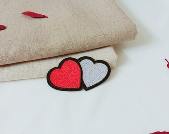 double heart patch-iron on patch -embroidered patch -patch for jacket -patch for backpack-DIY -applique