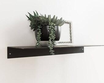 Metal Floating Kitchen Shelf 9.5'' Deep Picture Industrial Modern Steel Wall Shelves White Sheet Metal Raw Black Handmade Handcrafted
