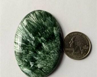 57.80 x 40.35 mm,Ovel Shape Seraphinite Russian cabochon/Attractive Seraphinite /wire wrap stone/Super Shiny/Pendant Cabochon/Semi Precious