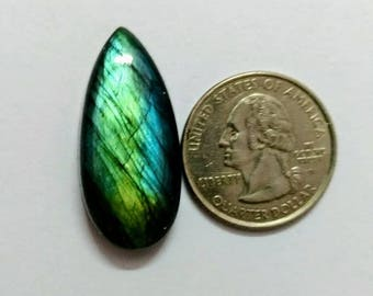 32.85 x 15.25 mm,Pear Shape Labradorite Cobochon/Green Flash/wire wrap stone/Super Shiny/Spectrolite  Cabochon/Semi Precious Gemstone/labra