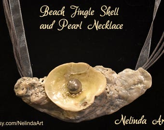 Elegant Jingle Shell Necklace with natural stone, Ocean, Mermaid, jewelry