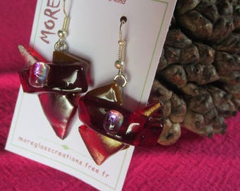 Original glass earrings red Crimson and caramel with silver leaf inclusion iridescent