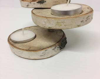 Set of 3 Birch Candle Holders