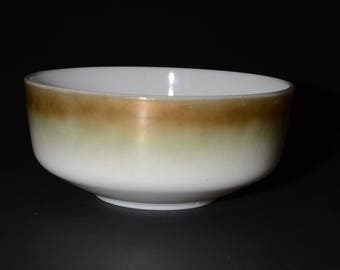 FEDERAL GLASS, Large Mixing Bowl, Casserole, Serving Bowl, Mesa, Ombre brown green, Milk glass, Iridescent, 3-1/2 QT, Vintage