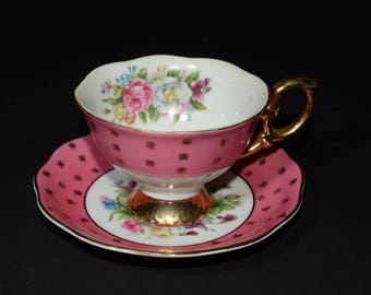 SHAFFORD, Hand Painted, Shafford, Pink, Teacup, and saucer, Flowers, Bouquet, Gold Rimmed, Japan, Vintage, Widemouth, Gold footed,Gold Stars
