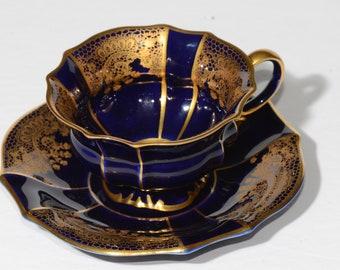 BAVARIA, Lindner Kueps Echt Cobalt, Bone China, Germany, Footed, Cobalt Blue and Gold, Teacup and saucer, Vintage, 168, Demitasse