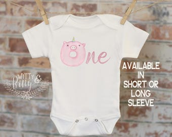 One Donut Pink Pig Unicorn Onesie®, First Birthday Onesie, Customized Onesie, Cute Onesie, Boho Baby Onesie, Woodland Style Onesie - 269D