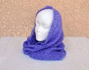 Lavender Mohair Cowl Infinity Scarf or hood, hand crocheted